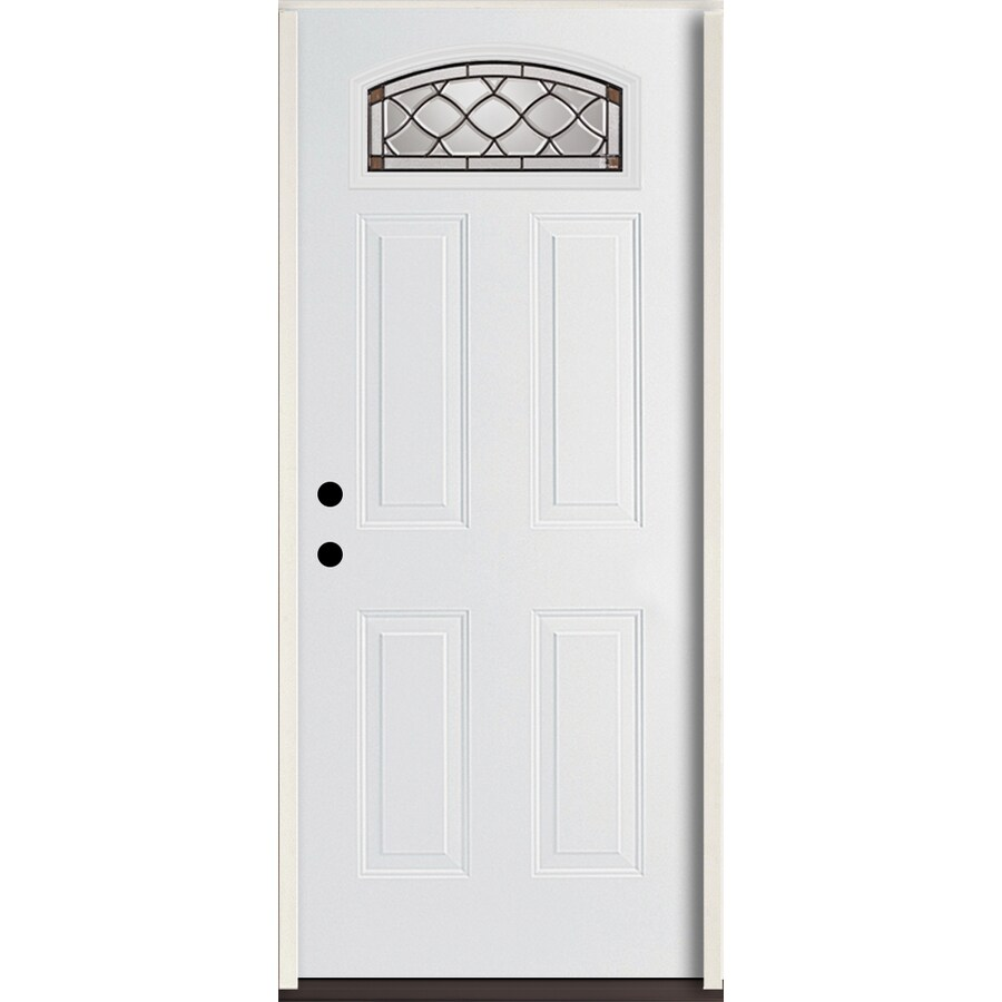 ReliaBilt Sheldon 4-Panel Insulating Core Morelight Right-Hand Inswing Modern White Fiberglass Painted Prehung Entry Door (Common: 36.0-in x 80.0-in; Actual: 37.5-in x 81.75-in)