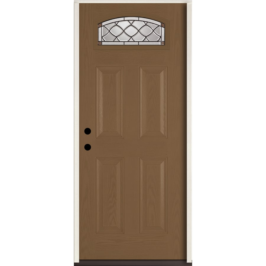 ReliaBilt Sheldon 4-Panel Insulating Core Morelight Right-Hand Inswing Woodhaven Fiberglass Stained Prehung Entry Door (Common: 36.0-in x 80.0-in; Actual: 37.5-in x 81.75-in)