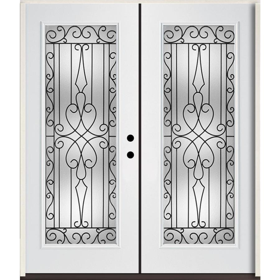 Ordinaire ReliaBilt Wyngate Decorative Glass Left Hand Inswing Modern White  Fiberglass Painted Entry Door (Common