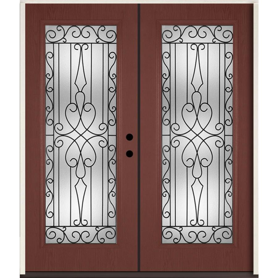 ReliaBilt Wyngate Decorative Glass Left-Hand Inswing Wineberry Fiberglass Stained Entry Door (Common: 72-in x 80-in; Actual: 73.875-in x 81.75-in)