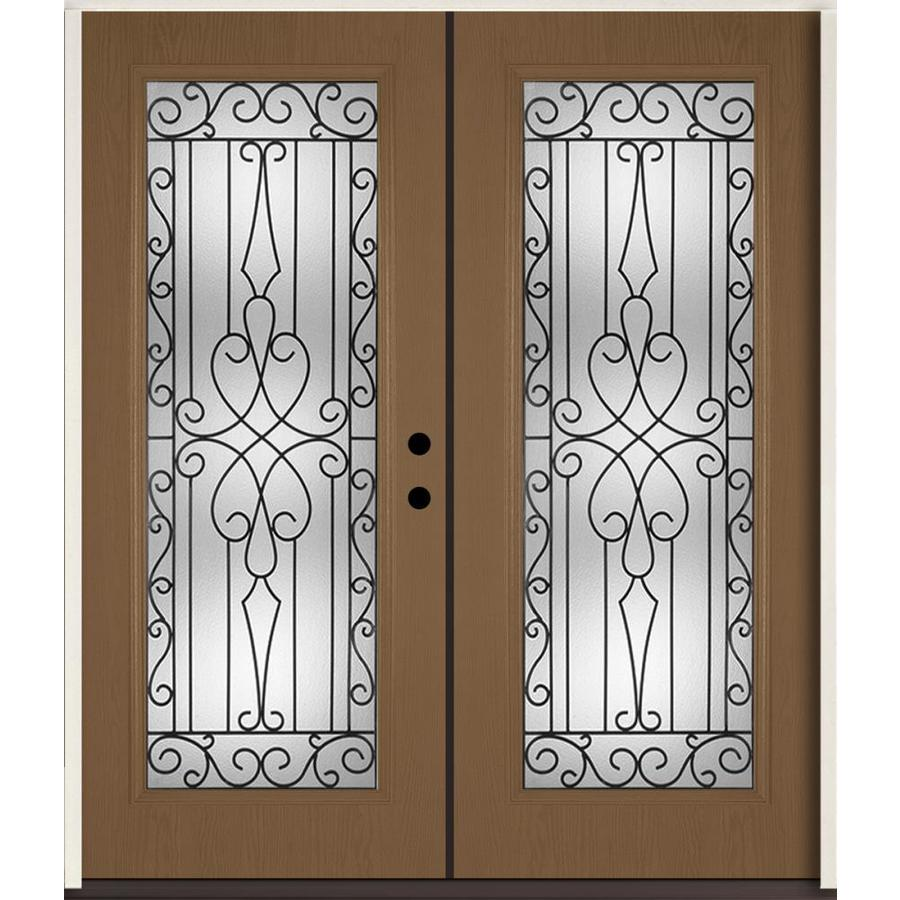 ReliaBilt Wyngate Flush Insulating Core Full Lite Left-Hand Inswing Woodhaven Fiberglass Stained Prehung Entry Door (Common: 72-in x 80-in; Actual: 73.875-in x 81.75-in)