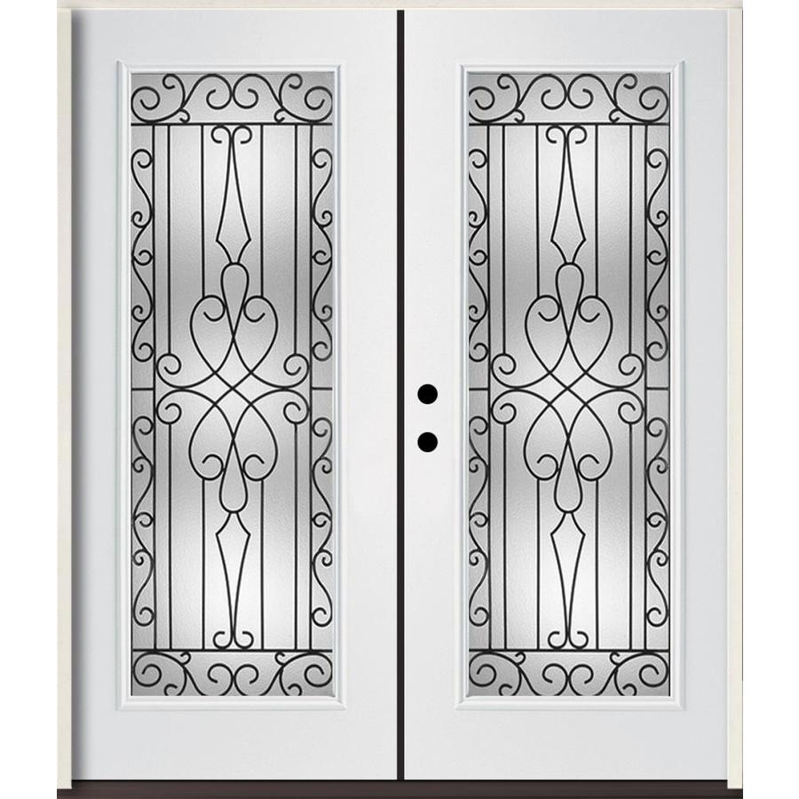 ReliaBilt Wyngate Flush Insulating Core Full Lite Right-Hand Inswing Modern White Fiberglass Painted Prehung Entry Door (Common: 72-in x 80-in; Actual: 73.875-in x 81.75-in)