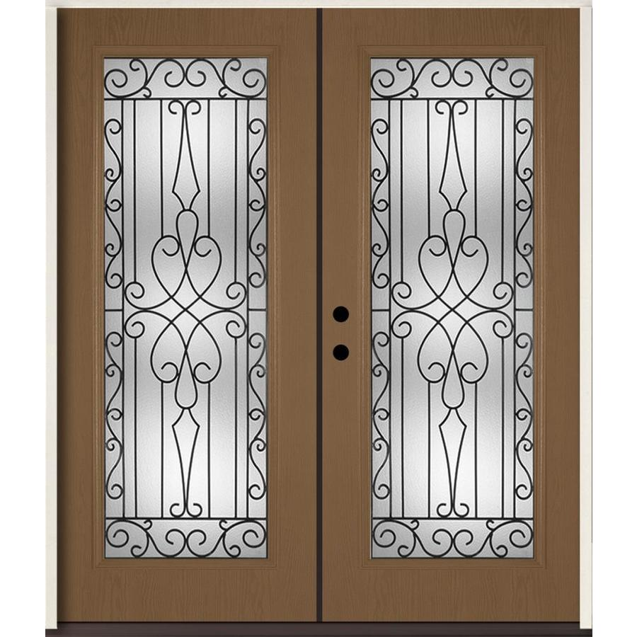 ReliaBilt Wyngate Flush Insulating Core Full Lite Right-Hand Inswing Woodhaven Fiberglass Stained Prehung Entry Door (Common: 72-in x 80-in; Actual: 73.875-in x 81.75-in)