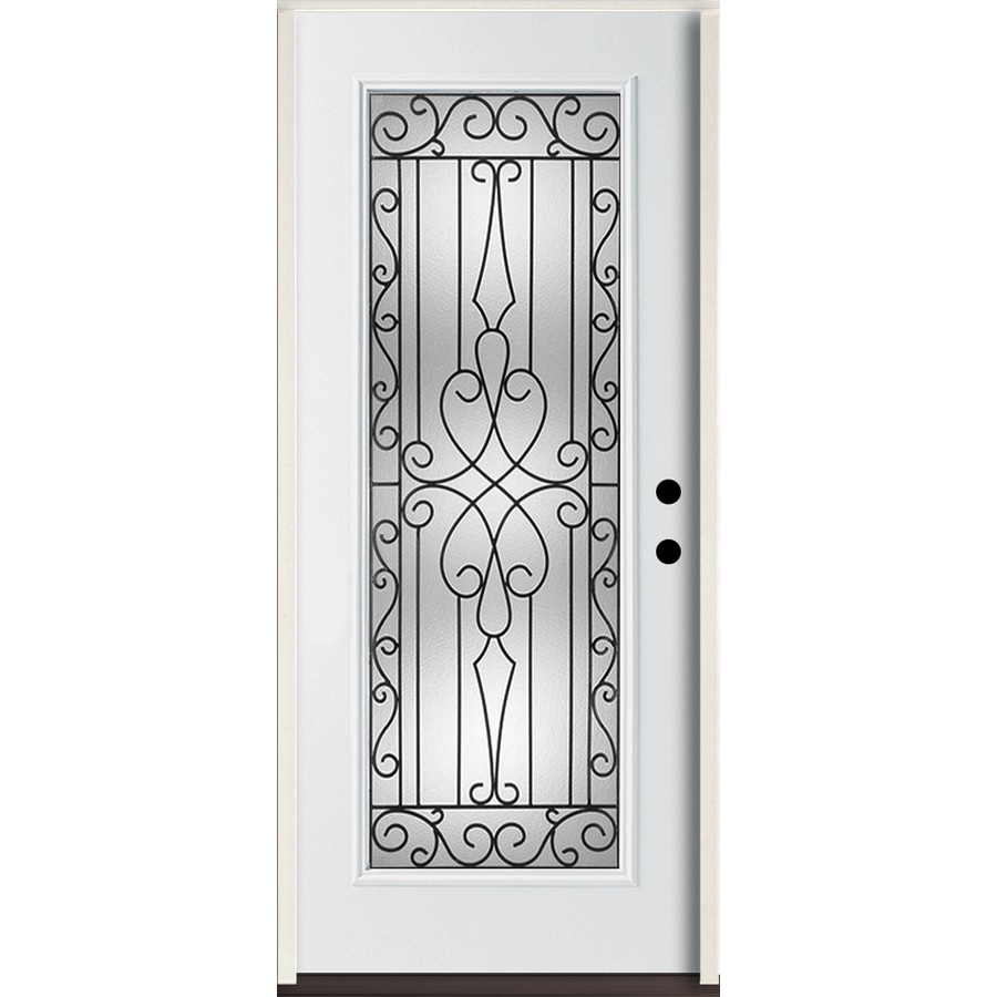 ReliaBilt Wyngate Flush Insulating Core Full Lite Left-Hand Inswing Modern White Fiberglass Painted Prehung Entry Door (Common: 36-in x 80-in; Actual: 37.5-in x 81.75-in)
