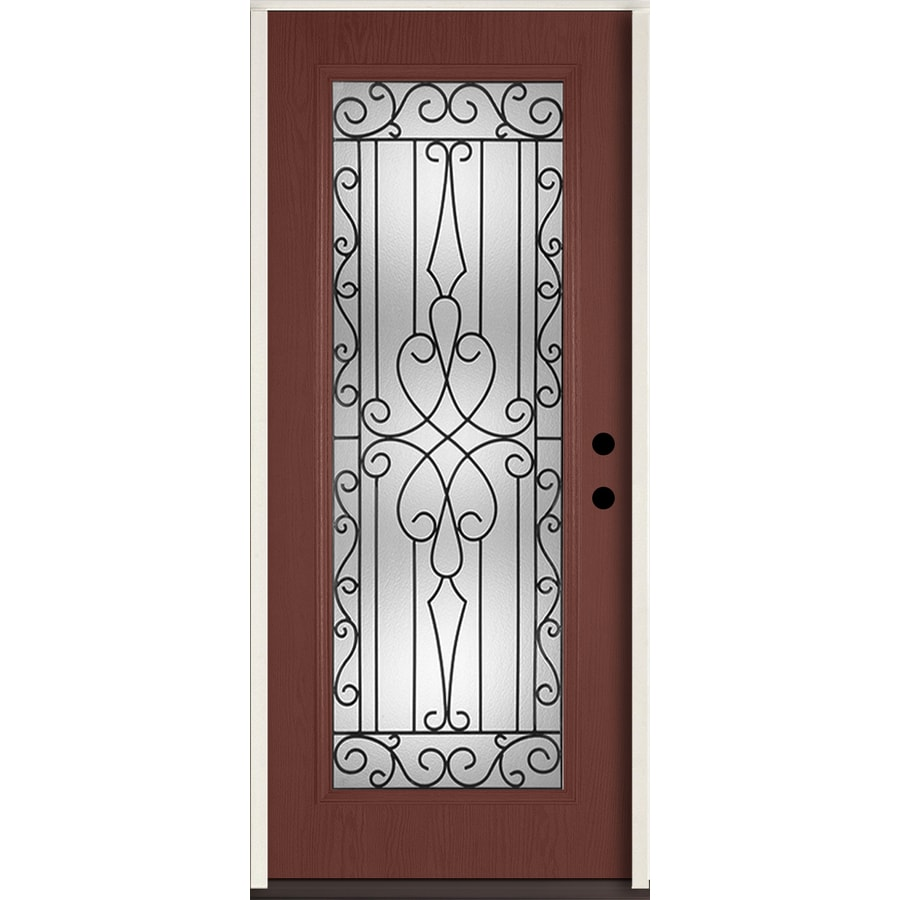 ReliaBilt Wyngate Decorative Glass Left-Hand Inswing Wineberry Fiberglass Stained Entry Door (Common: 36-in x 80-in; Actual: 37.5-in x 81.75-in)