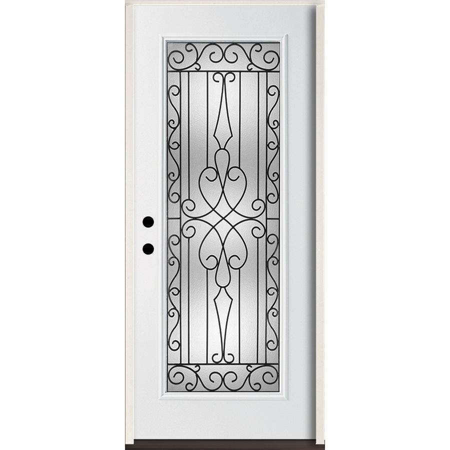 ReliaBilt Wyngate Flush Insulating Core Full Lite Right-Hand Inswing Modern White Fiberglass Painted Prehung Entry Door (Common: 36.0-in x 80.0-in; Actual: 37.5-in x 81.75-in)