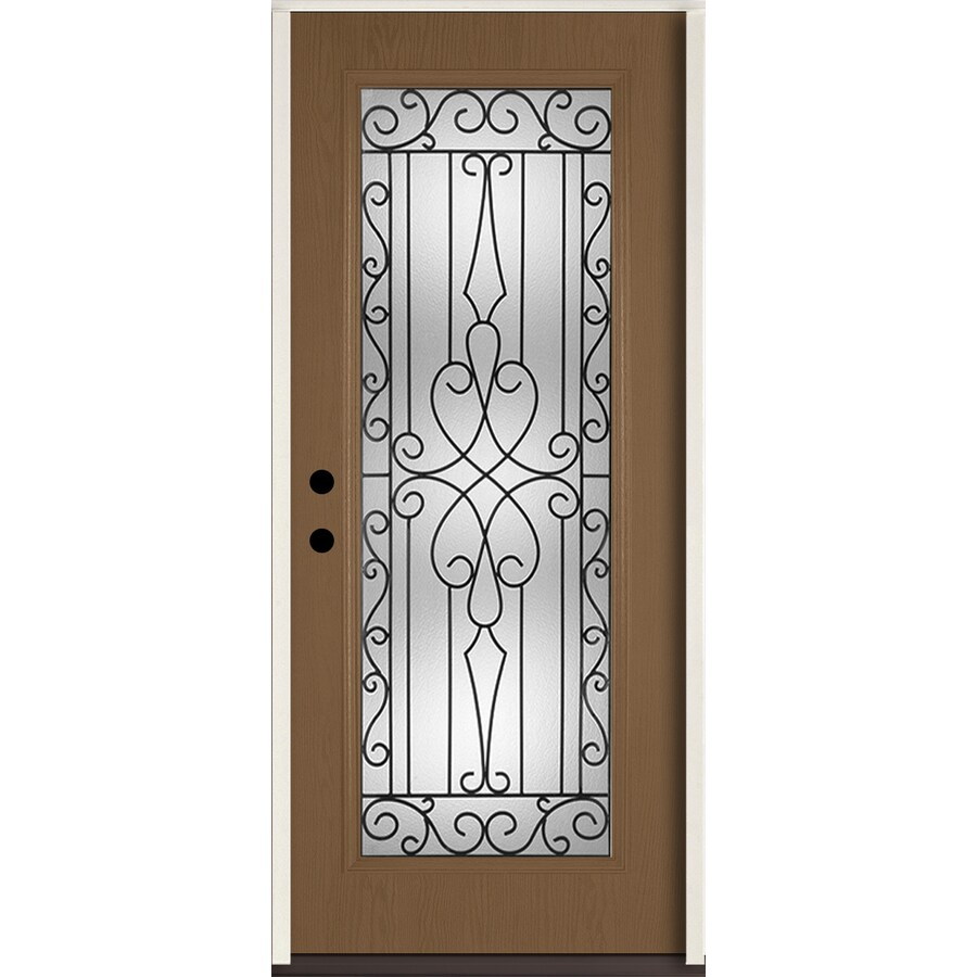 ReliaBilt Wyngate Flush Insulating Core Full Lite Right-Hand Inswing Woodhaven Fiberglass Stained Prehung Entry Door (Common: 36-in x 80-in; Actual: 37.5-in x 81.75-in)