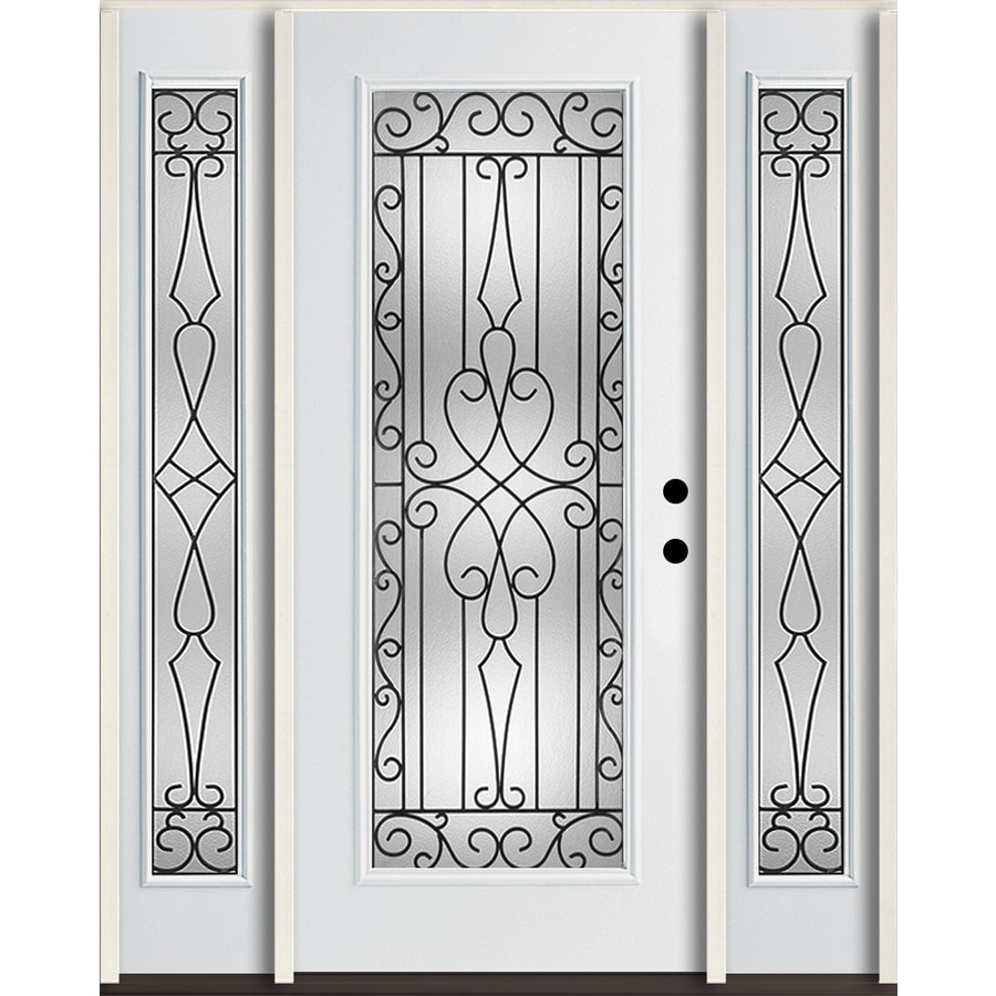 ReliaBilt Wyngate Decorative Glass Left-Hand Inswing Modern White Fiberglass Painted Entry Door (Common: 60-in x 80-in; Actual: 64.5-in x 81.75-in)