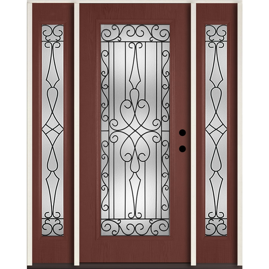 ReliaBilt Wyngate Flush Insulating Core Full Lite Left-Hand Inswing Wineberry Fiberglass Stained Prehung Entry Door (Common: 60-in x 80-in; Actual: 64.5-in x 81.75-in)