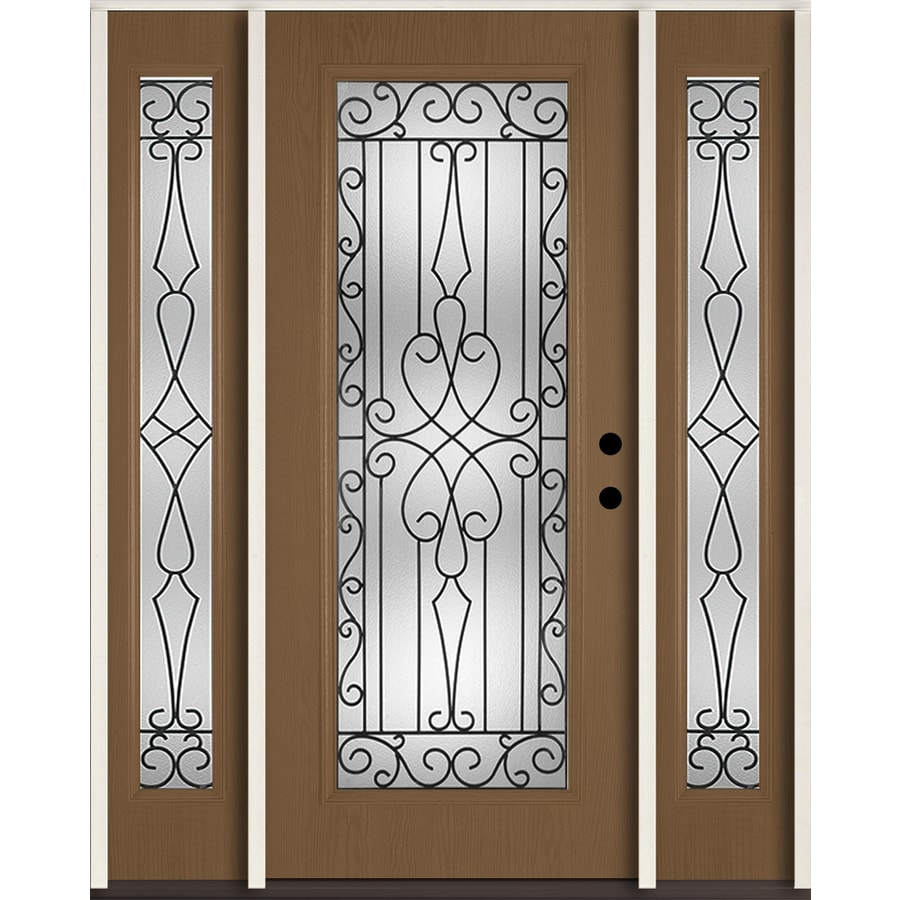 ReliaBilt Wyngate Flush Insulating Core Full Lite Left-Hand Inswing Woodhaven Fiberglass Stained Prehung Entry Door (Common: 60-in x 80-in; Actual: 64.5-in x 81.75-in)