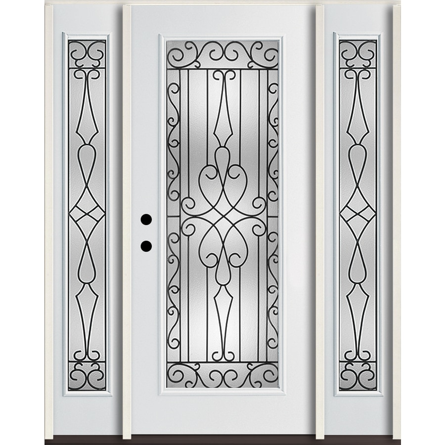 ReliaBilt Wyngate Flush Insulating Core Full Lite Right-Hand Inswing Modern White Fiberglass Painted Prehung Entry Door (Common: 60-in x 80-in; Actual: 64.5-in x 81.75-in)
