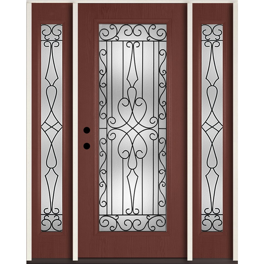 ReliaBilt Wyngate Flush Insulating Core Full Lite Right-Hand Inswing Wineberry Fiberglass Stained Prehung Entry Door (Common: 60-in x 80-in; Actual: 64.5-in x 81.75-in)