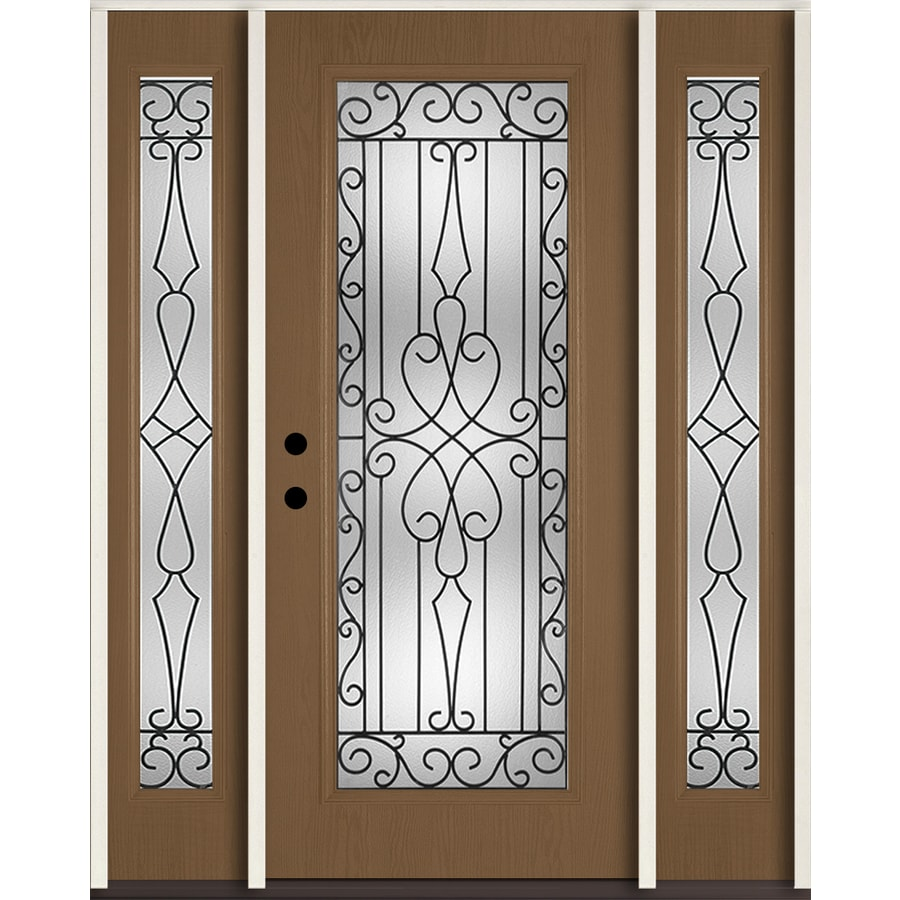 ReliaBilt Wyngate Flush Insulating Core Full Lite Right-Hand Inswing Woodhaven Fiberglass Stained Prehung Entry Door (Common: 60-in x 80-in; Actual: 64.5-in x 81.75-in)