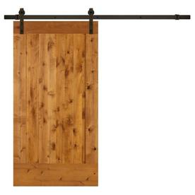 Bon SIMPSON Brown Unfinished Plank Wood Knotty Alder Barn Door Kit Hardware  Included (Common: 42