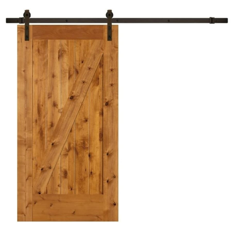 SIMPSON Brown Unfinished Z Frame Wood Knotty Alder Barn Door With Hardware  Kit (Common