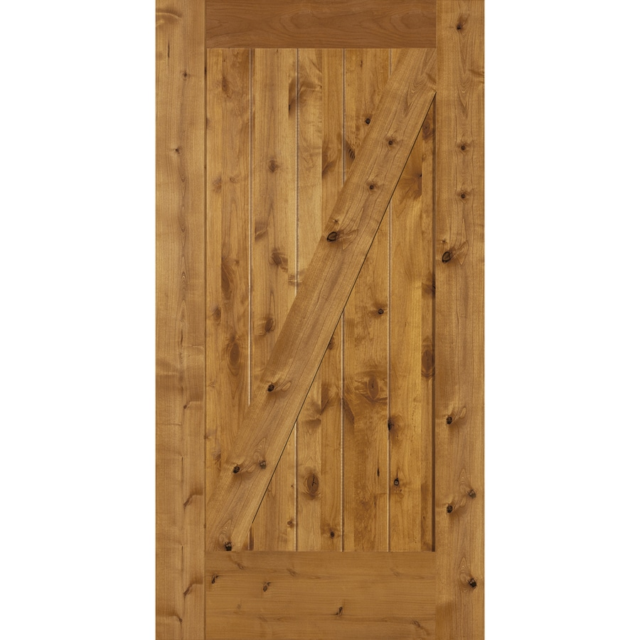 Simpson Brown Unfinished Z Frame Wood Knotty Alder Barn Door Common 42