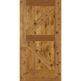 SIMPSON Brown Unfinished K Frame Wood Knotty Alder Barn Door