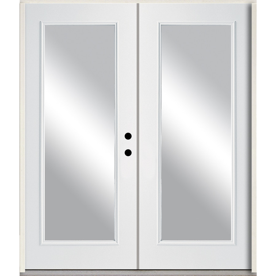 ReliaBilt Clear Glass Left-Hand Inswing Modern White Painted Fiberglass Prehung Double Entry Door with Insulating Core (Common: 72-in x 80-in; Actual: 73.875-in x 81.75-in)