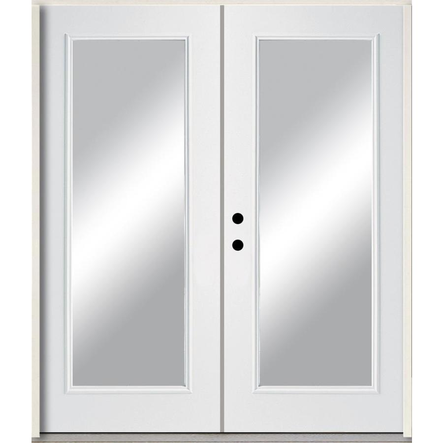 ReliaBilt Clear Glass Right-Hand Inswing Modern White Painted Fiberglass Prehung Double Entry Door with Insulating Core (Common: 72-in x 80-in; Actual: 73.875-in x 81.75-in)
