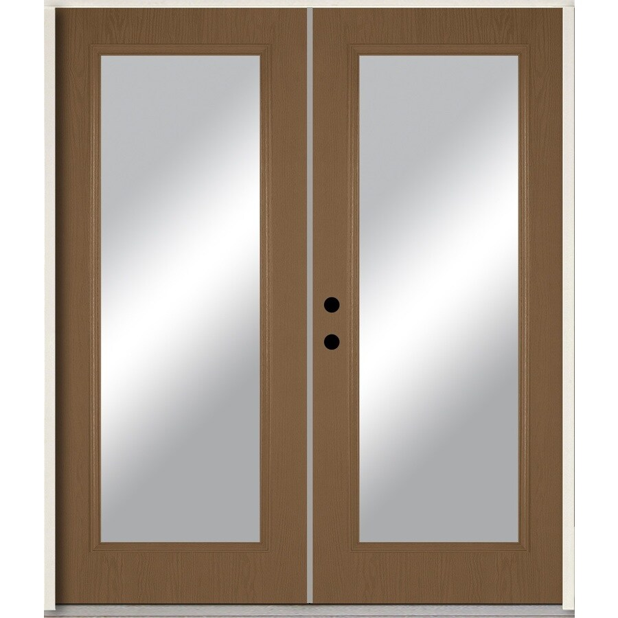 ReliaBilt Clear Glass Right-Hand Inswing Woodhaven Stained Fiberglass Prehung Double Entry Door with Insulating Core (Common: 72-in x 80-in; Actual: 73.875-in x 81.75-in)