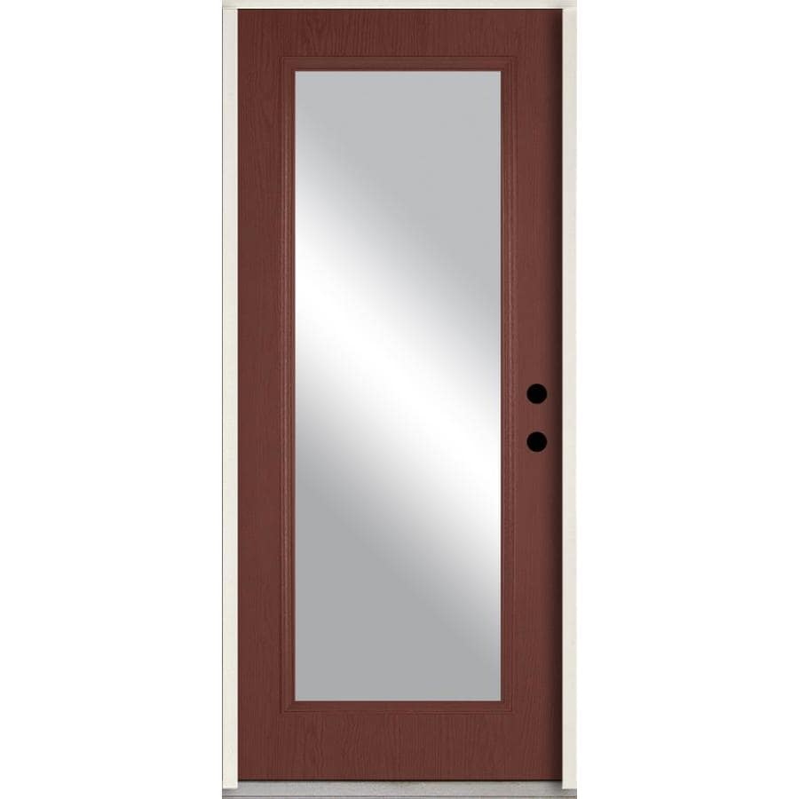 ReliaBilt Clear Glass Left-Hand Inswing Wineberry Stained Fiberglass Prehung Entry Door with Insulating Core (Common: 36-in x 80-in; Actual: 37.5-in x 81.75-in)