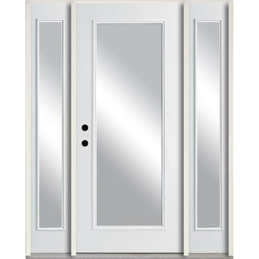 ReliaBilt Clear Glass Right Hand Inswing Modern White Painted Fiberglass  Prehung Entry Door With Sidelights