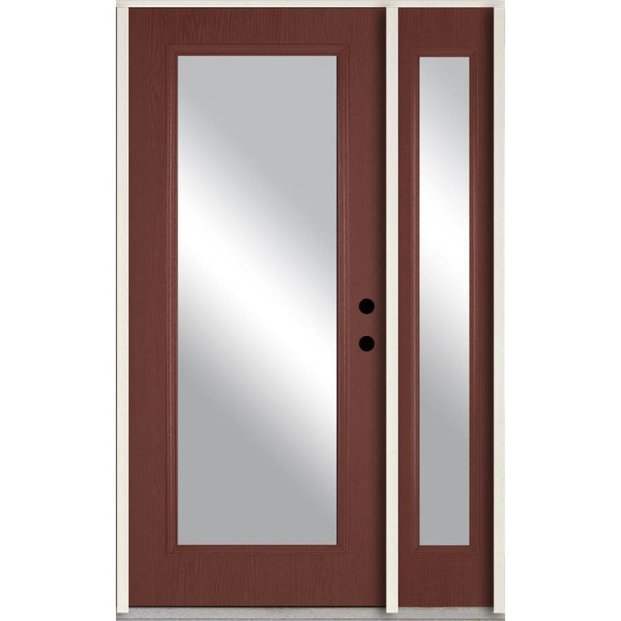 ReliaBilt Clear Glass Left-Hand Inswing Wineberry Stained Fiberglass Prehung Entry Door with Left Sidelight and Insulating Core (Common: 48-in x 80-in; Actual: 51-in x 81.75-in)