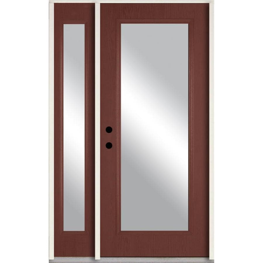 ReliaBilt Clear Glass Right-Hand Inswing Wineberry Stained Fiberglass Prehung Entry Door with Right Sidelight and Insulating Core (Common: 48-in x 80-in; Actual: 51-in x 81.75-in)