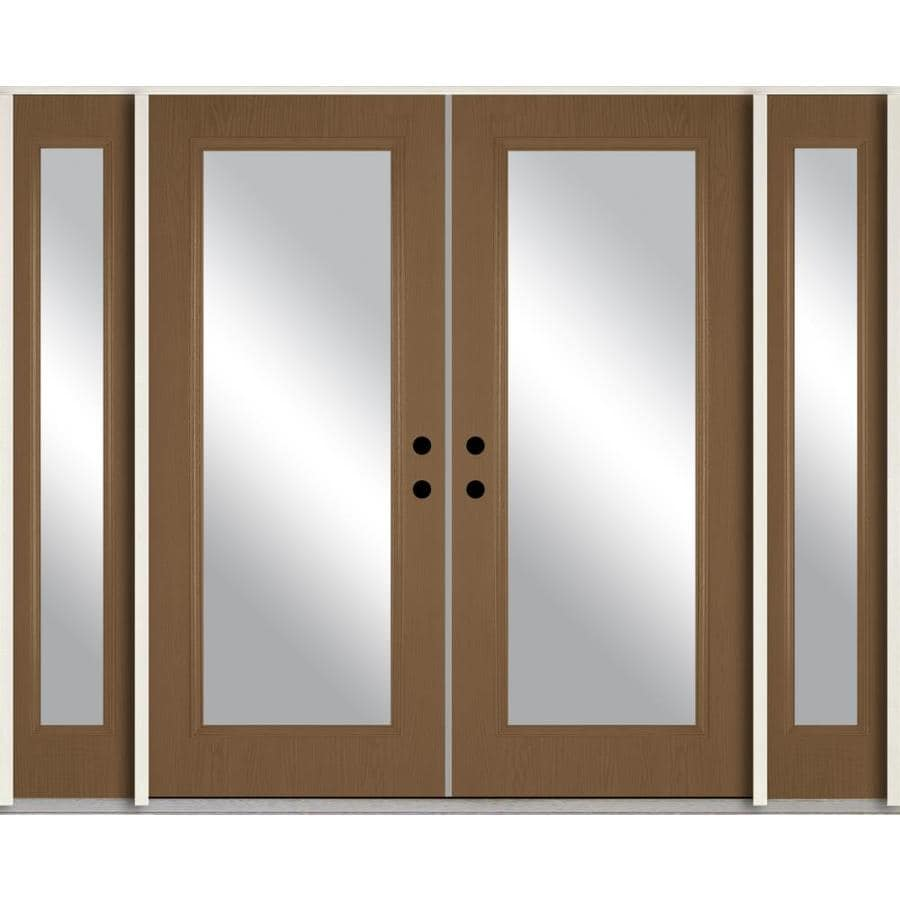 ReliaBilt Clear Glass Left-Hand Inswing Woodhaven Stained Fiberglass Prehung Double Entry Door with Sidelights and Insulating Core (Common: 96-in x 80-in; Actual: 100.875-in x 81.75-in)