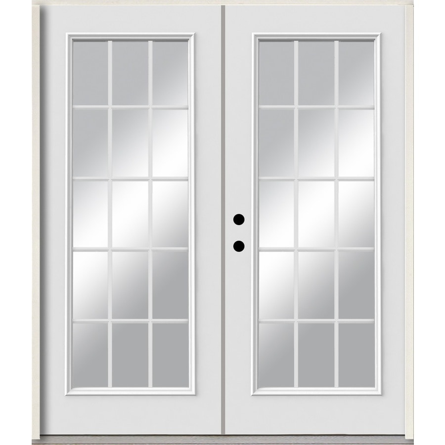 double entry doors white. reliabilt grills between the glass right-hand inswing modern white painted fiberglass prehung double entry doors