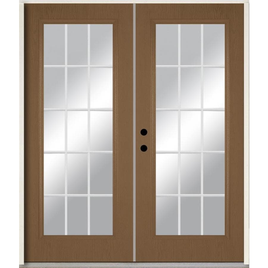 ReliaBilt Grills Between the Glass Right-Hand Inswing Woodhaven Stained Fiberglass Prehung Double Entry Door with Insulating Core (Common: 72-in x 80-in; Actual: 73.875-in x 81.75-in)