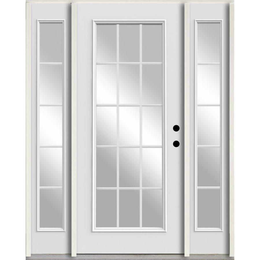 ReliaBilt Grills Between the Glass Left-Hand Inswing Modern White Painted Fiberglass Prehung Entry Door with Sidelights and Insulating Core (Common: 60-in x 80-in; Actual: 64.5-in x 81.75-in)