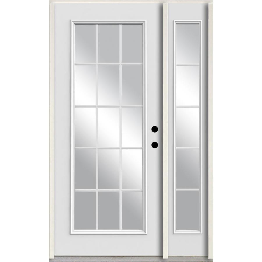ReliaBilt Grills Between the Glass Left-Hand Inswing Modern White Painted Fiberglass Prehung Entry Door with Left Sidelight and Insulating Core (Common: 48-in x 80-in; Actual: 51-in x 81.75-in)
