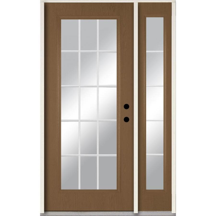 ReliaBilt Grills Between the Glass Left-Hand Inswing Woodhaven Stained Fiberglass Prehung Entry Door with Left Sidelight and Insulating Core (Common: 48-in x 80-in; Actual: 51-in x 81.75-in)