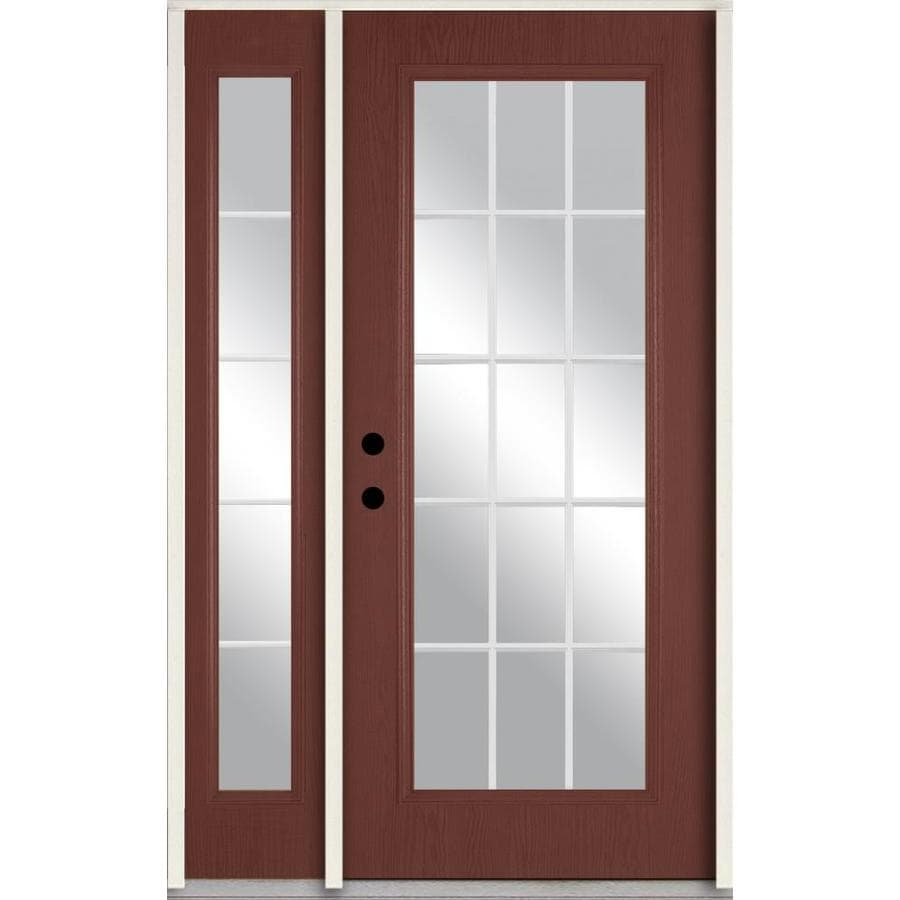 ReliaBilt Grills Between the Glass Right-Hand Inswing Wineberry Stained Fiberglass Prehung Entry Door with Right Sidelight and Insulating Core (Common: 48-in x 80-in; Actual: 51-in x 81.75-in)
