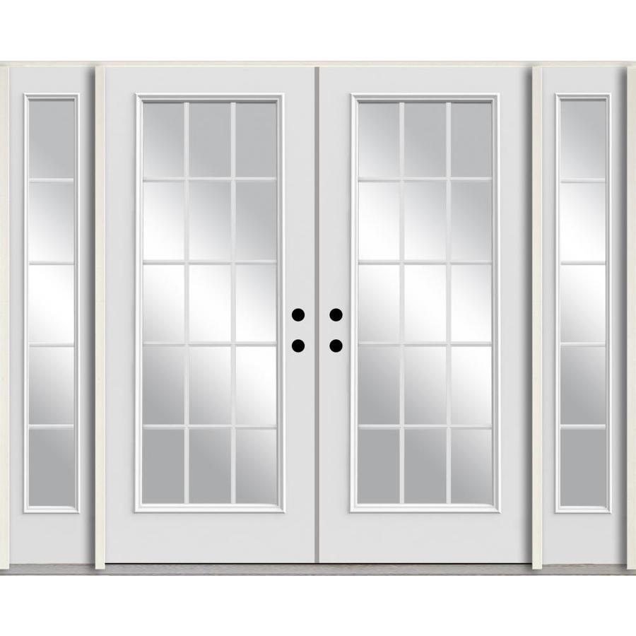 double front door with sidelights. ReliaBilt Grills Between The Glass Left-Hand Inswing Modern White Painted Fiberglass Prehung Double Entry Front Door With Sidelights