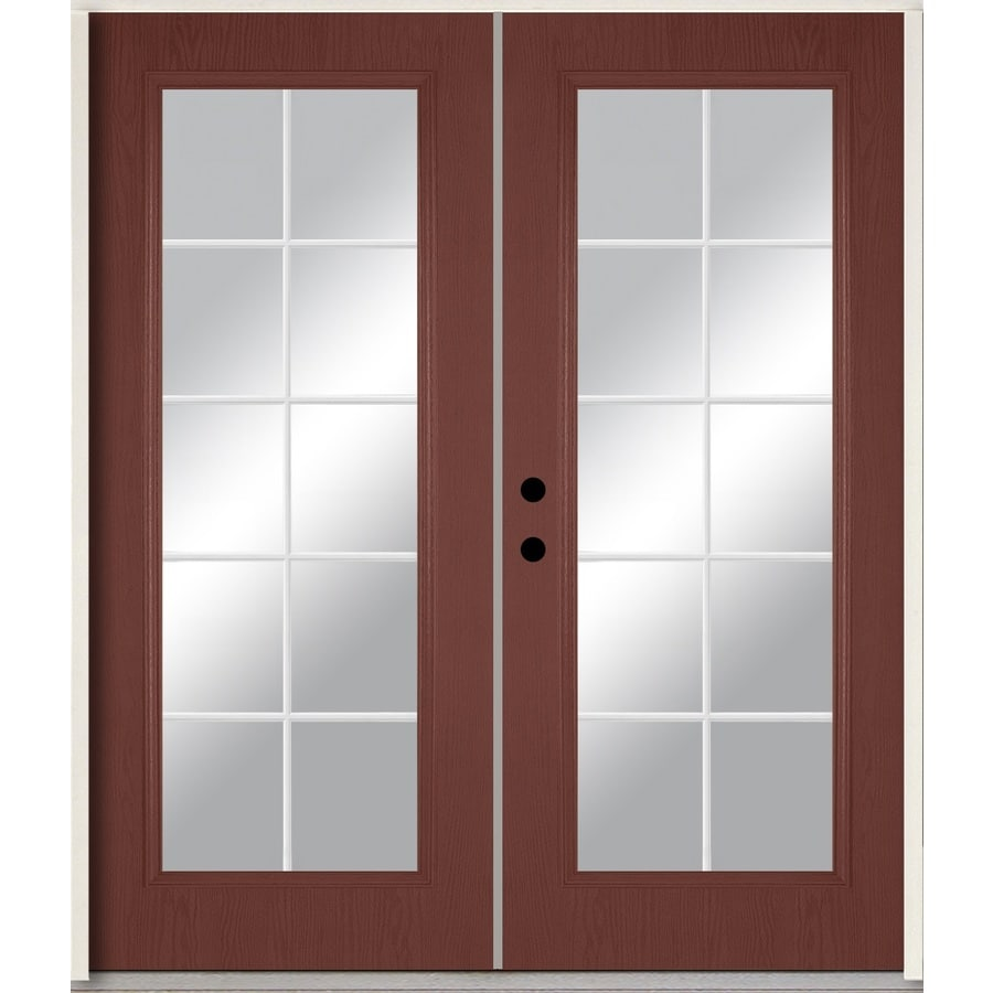 ReliaBilt Grills Between the Glass Right-Hand Inswing Wineberry Stained Fiberglass Prehung Double Entry Door with Insulating Core (Common: 72-in x 80-in; Actual: 73.875-in x 81.75-in)