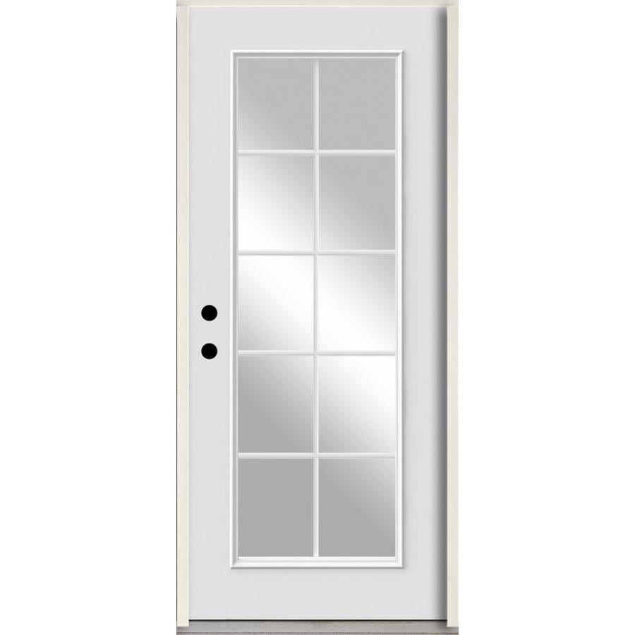 ReliaBilt Grills Between the Glass Right-Hand Inswing Modern White Painted Fiberglass Prehung Entry Door with Insulating Core (Common: 36-in x 80-in; Actual: 37.5-in x 81.75-in)
