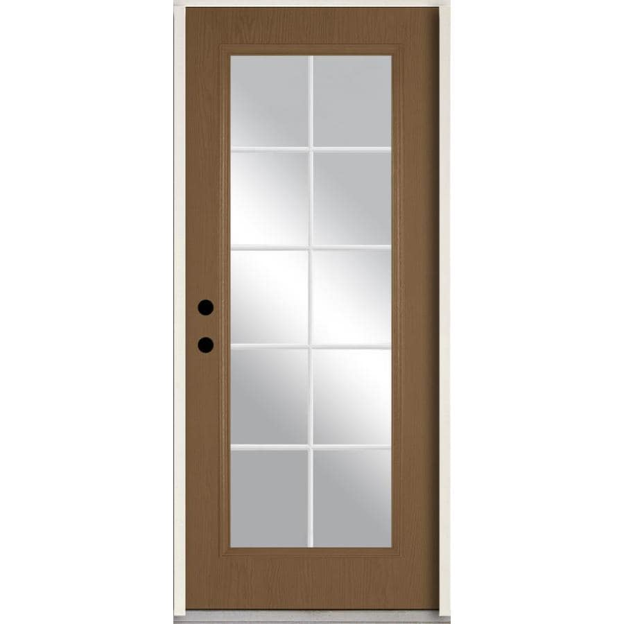 ReliaBilt Grills Between the Glass Right-Hand Inswing Woodhaven Stained Fiberglass Prehung Entry Door with Insulating Core (Common: 36-in x 80-in; Actual: 37.5-in x 81.75-in)