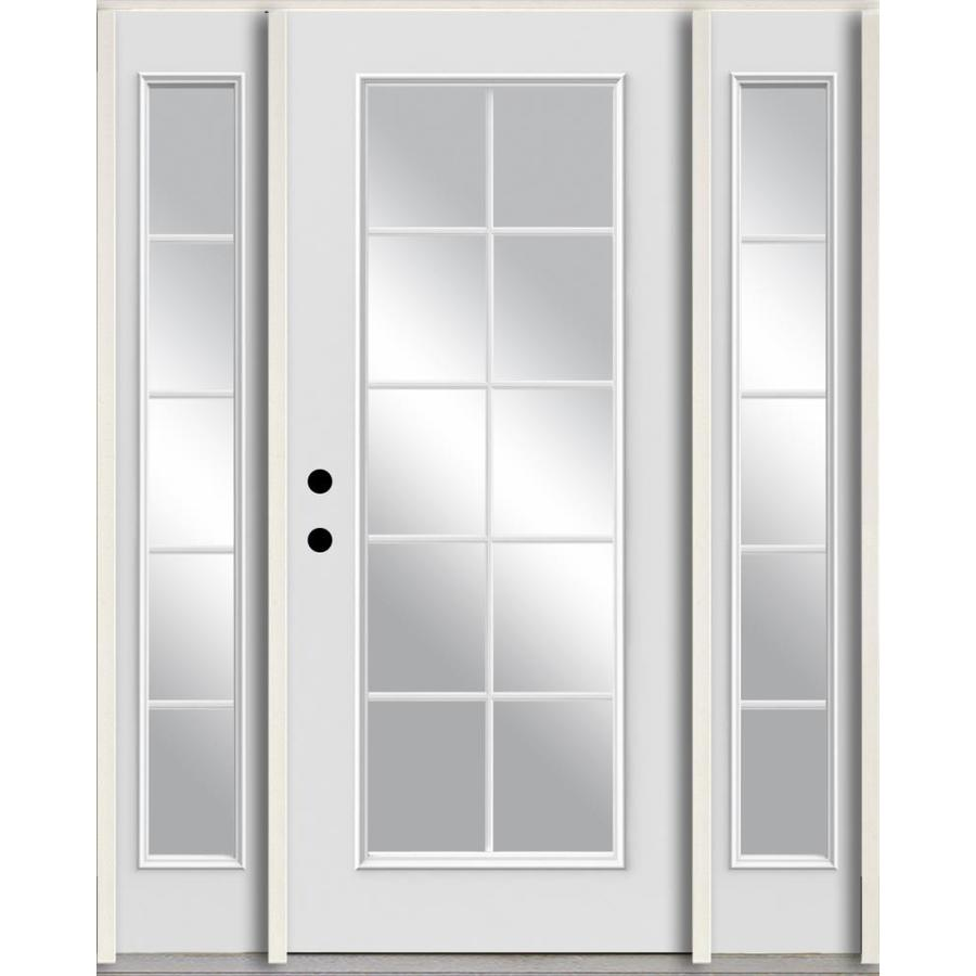 ReliaBilt Grills Between the Glass Right-Hand Inswing Modern White Painted Fiberglass Prehung Entry Door with Sidelights and Insulating Core (Common: 60-in x 80-in; Actual: 64.5-in x 81.75-in)