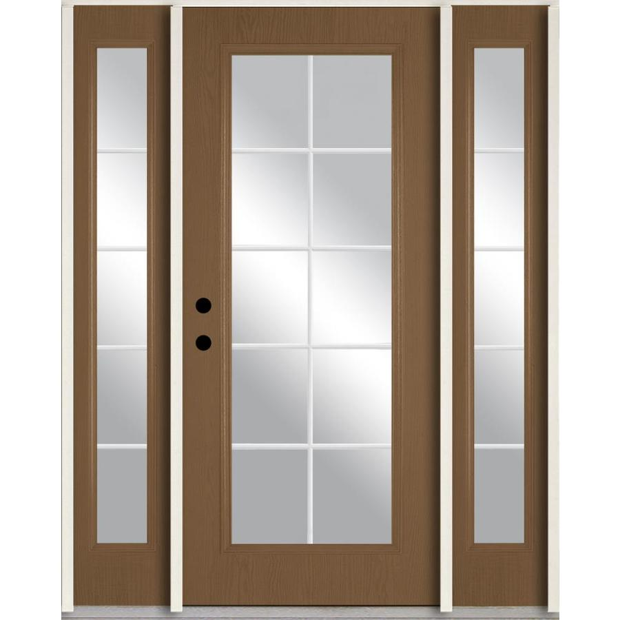 ReliaBilt Grills Between the Glass Right-Hand Inswing Woodhaven Stained Fiberglass Prehung Entry Door with Sidelights and Insulating Core (Common: 60-in x 80-in; Actual: 64.5-in x 81.75-in)