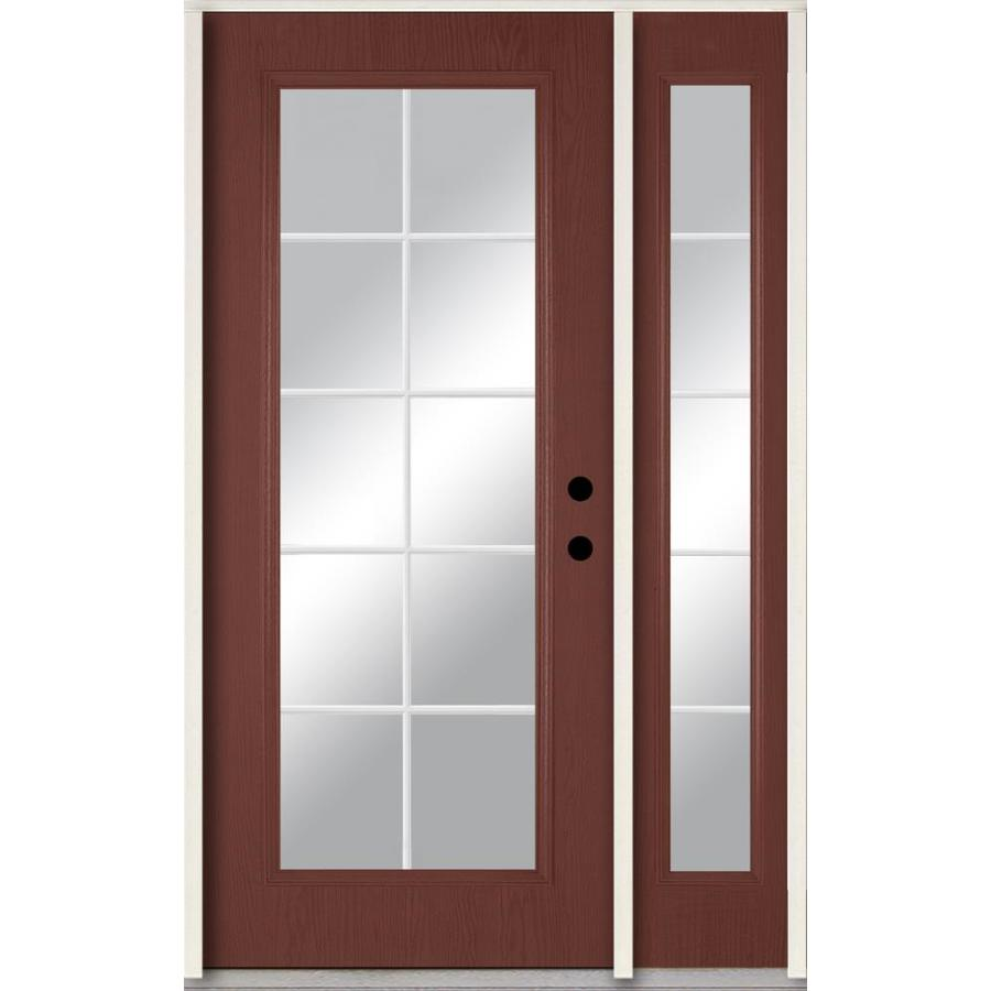 ReliaBilt Grills Between the Glass Left-Hand Inswing Wineberry Stained Fiberglass Prehung Entry Door with Left Sidelight and Insulating Core (Common: 48-in x 80-in; Actual: 51-in x 81.75-in)
