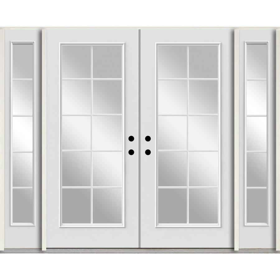ReliaBilt Grills Between the Glass Right-Hand Inswing Modern White Painted Fiberglass Prehung Double Entry Door with Sidelights and Insulating Core (Common: 96-in x 80-in; Actual: 100.875-in x 81.75-in)