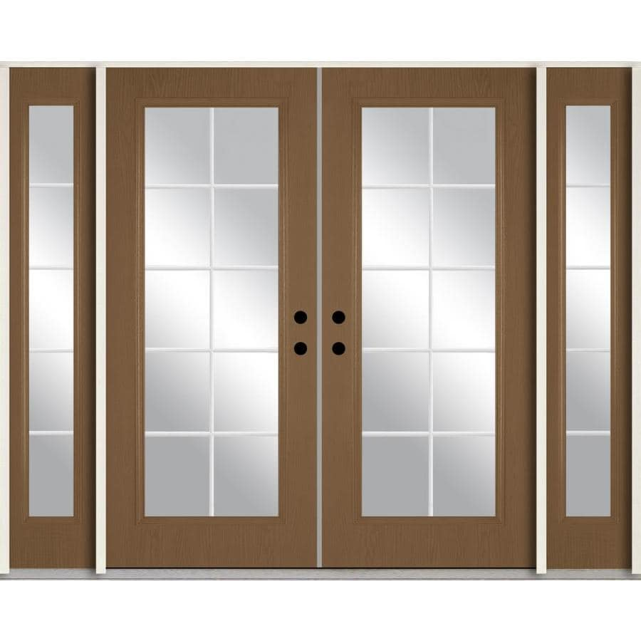 ReliaBilt Grills Between the Glass Right-Hand Inswing Woodhaven Stained Fiberglass Prehung Double Entry Door with Sidelights and Insulating Core (Common: 96-in x 80-in; Actual: 100.875-in x 81.75-in)
