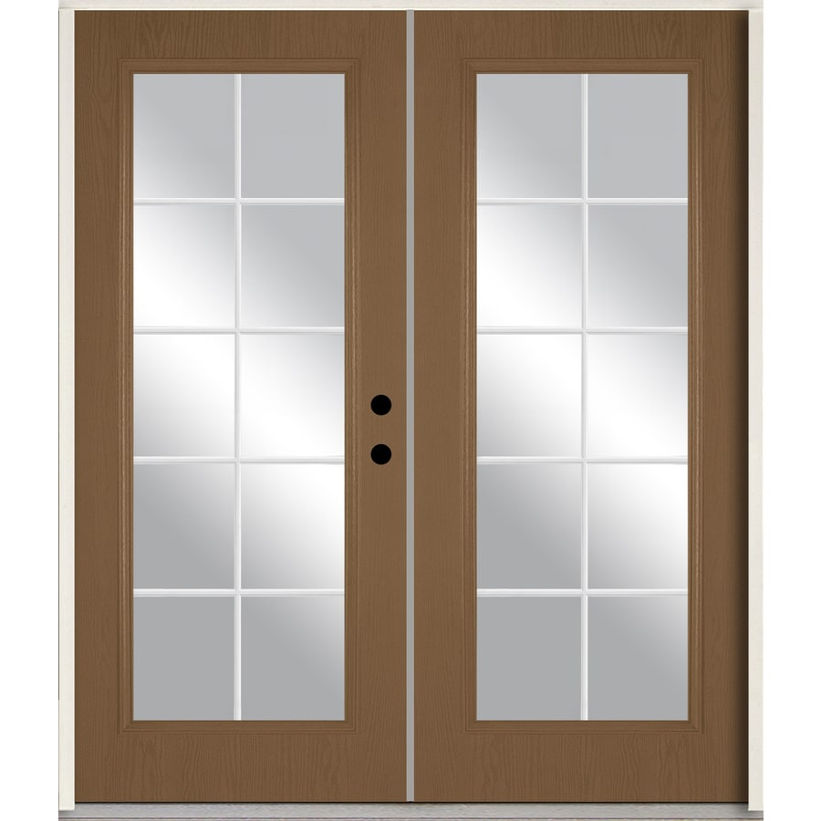 ReliaBilt Grills Between the Glass Left-Hand Inswing Woodhaven Stained Fiberglass Prehung Double Entry Door with Insulating Core (Common: 72-in x 80-in; Actual: 73.875-in x 81.75-in)