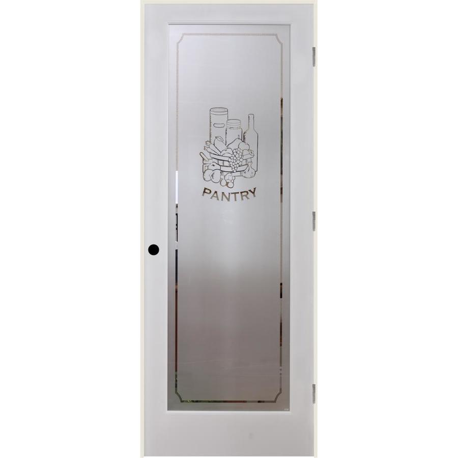 Shop Reliabilt Pantry Solid Core Frosted Glass Single Prehung Interior Door Common 32 In X 80: interior doors frosted glass