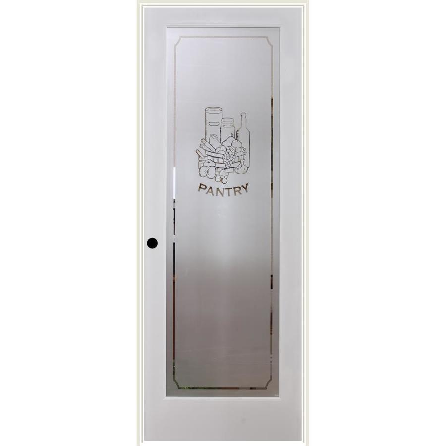 Reliabilt White 1 Panel Solid Core Frosted Glass Wood Pine