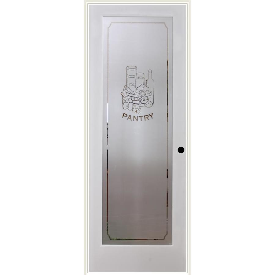 ReliaBilt Pantry Solid Core Frosted Glass Single Prehung Interior Door (Common: 32-in x 80-in; Actual: 33.5-in x 81.6875-in)
