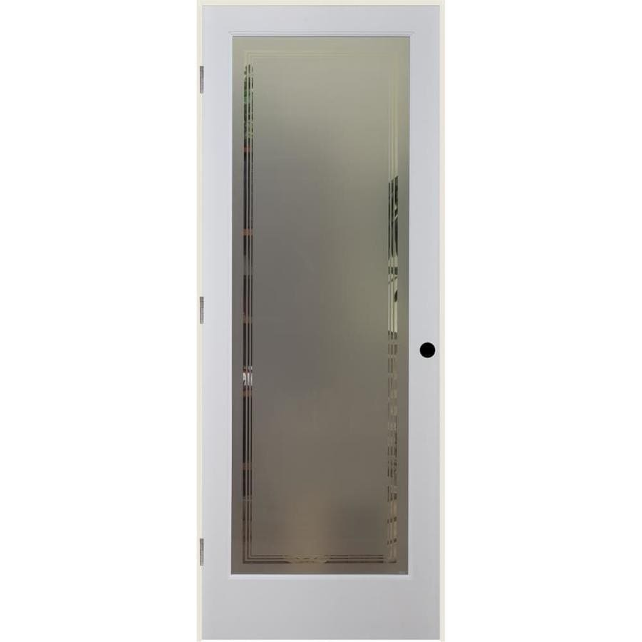 ReliaBilt Hamilton Solid Core Frosted Glass Single Prehung Interior Door (Common: 32-in x 80-in; Actual: 33.5-in x 82.1875-in)