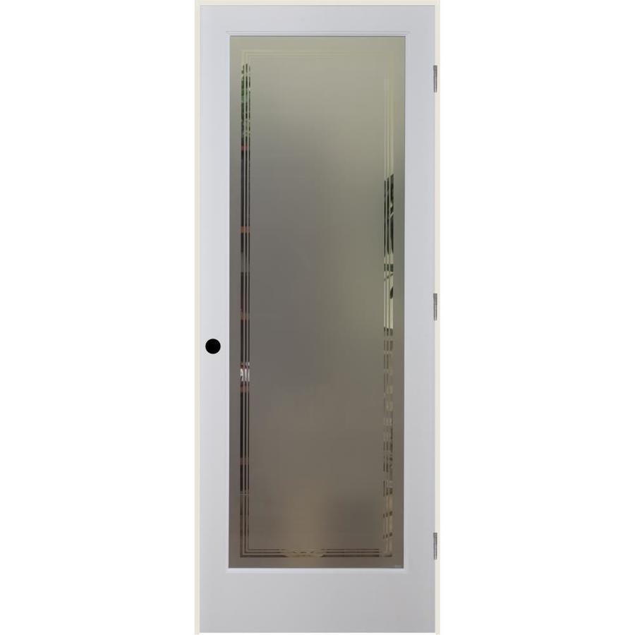 Shop Reliabilt Hamilton Solid Core Frosted Glass Single Prehung Interior Door Common 28 In X